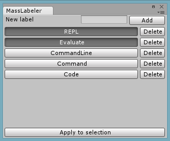 Mass labeler in action: Adding the REPL and Evaluate tags to an object