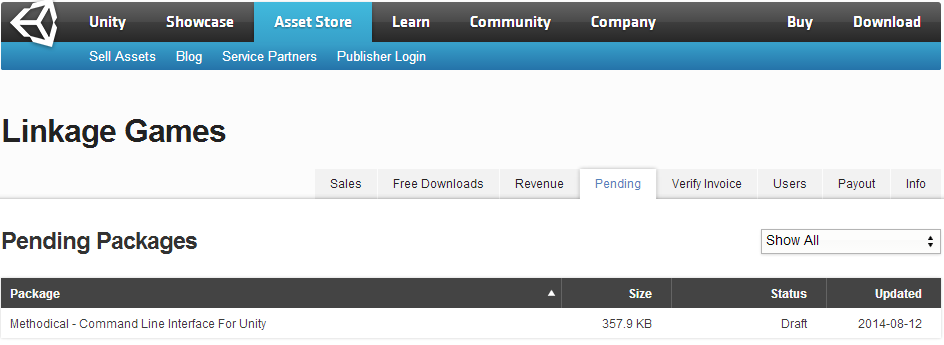 The Asset Store Publisher Web-Interface