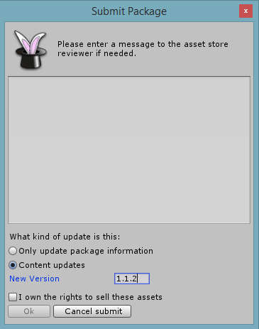 Submitting a Content update to the Asset Store